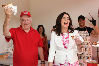 Premier Annastacia Palaszczuk with her father, Henry Palaszczuk, voting in the Queensland election at Inala State School in October in 2020.