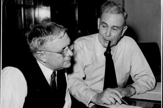 """The """"golden years"""" era when Dr. Evatt (left) was Minister for External Affairs and Mr. J. B. Chifley (right) was Prime Minister, 1945-1949."""