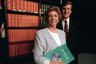 Dan Tehan's mother Marie Tehan, pictured in 1995 with then-premier Jeff Kennett, made significant reforms as health minister.