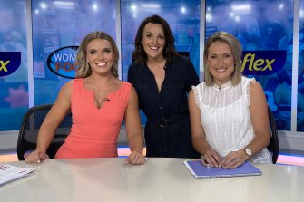 Women's Footy Show hosts Abbey Holmes, Bianca Chatfield and Lauren Wood.