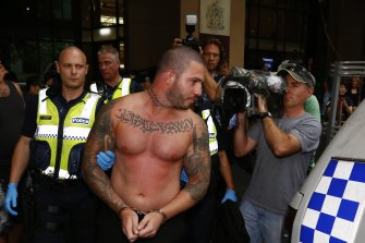 Suleiman Abdulrahim is arrested outside the Magistrates Court after a wild brawl in 2015.
