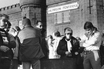 A few days in: prison officers strike outside Pentridge.