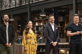 MasterChef Australia judges Andy Allen, Melissa Leong and Jock Zonfrillo with guest chef Gordon Ramsay.
