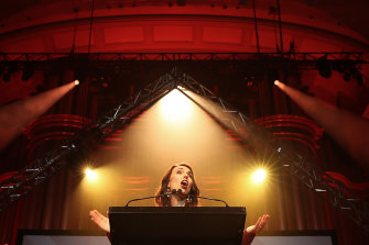 Jacinda Ardern celebrates her win during the Labor Party Election Night Function at Auckland Town Hall.