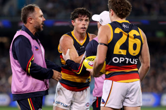 Concussed: Ned McHenry after the tackle from Scott Lycett.