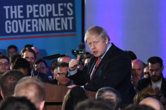 "British Prime Minister Boris Johnson concluded his victory speech on Friday by saying: ""Let's get Brexit done! But first, let's get breakfast done!"""