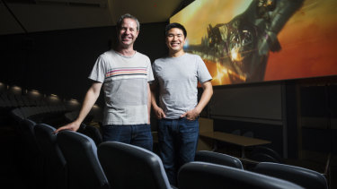 ANU film group vice president Andrew Wellington and president Adrian Ma.