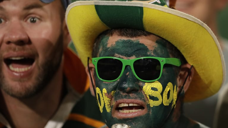 Despair: South African fans react during the match.
