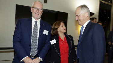 ABC chair Justin Milne, then ABC managing director Michelle Guthrie and then Prime Minister Malcolm Turnbull during the ABC showcase event at Parliament House in Canberra in mid August.