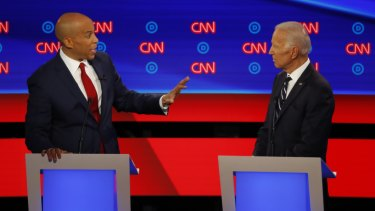 Senator Cory Booker takes former vice-president Joe Biden to task.