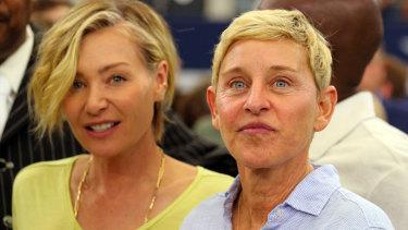 Portia de Rossi and Ellen DeGeneres at the Green Bay Packers v Dallas Cowboys game.