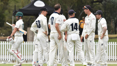 Victoria's Sheffield Shield team celebrate in numbers.