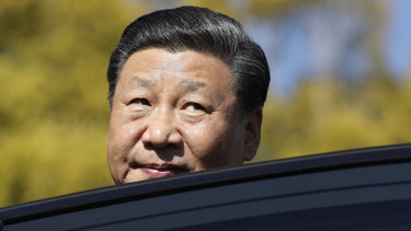 Chinese President Xi Jinping leaves after meeting with South African President Cyril Ramaphosa in Pretoria, South Africa, on Tuesday. Xi is attending a BRICS summit.