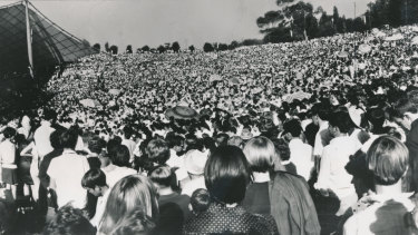A record breaking crowd of 200,000+ gathered to watch The Seekers perform as part of Music for The People concerts. March, 1967.