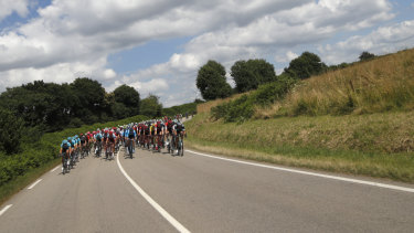 Packing heat: The pack rides during the fifth stage of the Tour de France over 204.5 kilometers.