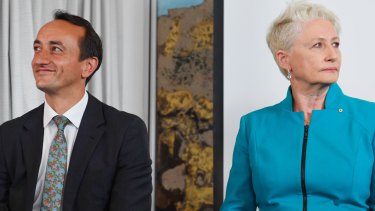 Liberal candidate Dave Sharma and independent Kerryn Phelps at Monday's debate.