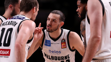 Finals focus: Melbourne United star Chris Goulding gees up teammates during Sunday's crucial win over Adelaide 36ers.