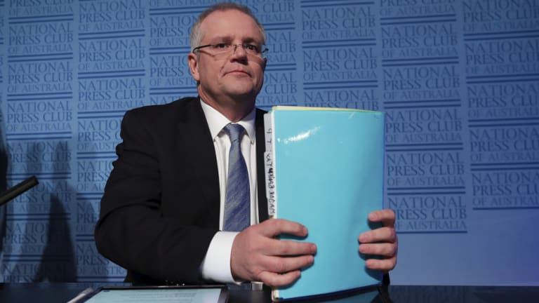 Treasurer Scott Morrison addresses the National Press Club.