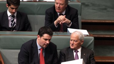 December 2013: Andrew Hirst, speaks with Chief Government Whip Philip Ruddock.