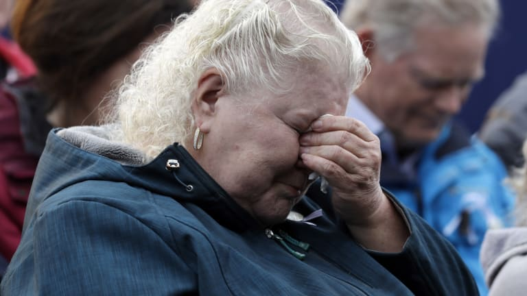 Family members of those on board Flight 93 wept during the memorial service.