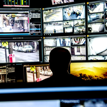 Behind the scenes of the CCTV operations room in Sydney.