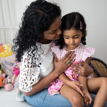 Udita Mittal and her daughter Shayari Pal at their Brentwood home.