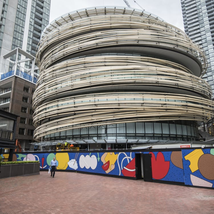Under construction: the swirling wooden facade of Japanese architect Kengo Kuma's The Exchange at Darling Square.
