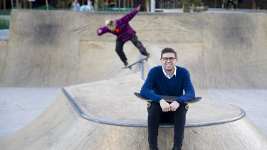 Ryde mayor Jerome Laxale at the Meadowbank skate park, built using money from the Stronger Communities Fund.