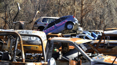 Burnt out cars from the Marysville fires.
