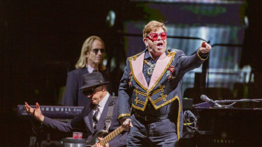 Elton John at the first Australian concert of his final tour of the nation.