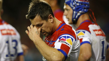 Hip pocket: Newcastle's late season capitulation will hit Mitchell Pearce hard.