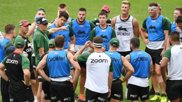 New man in charge: Wayne Bennett addresses the Souths players.