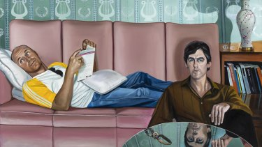 Go-Betweens singer-songwriters Grant McLennan and Robert Forster in a 2001  Anne Wallace oil painting.