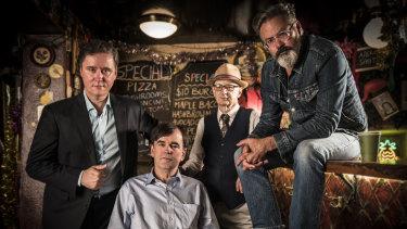 The Doug Anthony Allstars:  (l-r) Former member Richard Fidler, Tim Ferguson, Fidler's replacement Paul Livingston and Paul McDermott.