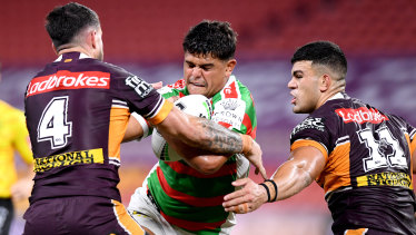 Latrell Mitchell was quiet at fullback before being moved to the centres in the second half.