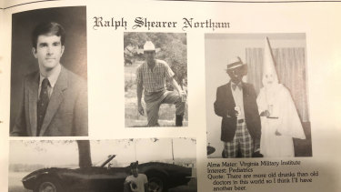 """Ralph Northam's yearbook page containing the controversial """"blackface"""" photograph."""