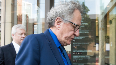Geoffrey Rush arrives at the Federal Court for his defamation case.