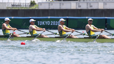 Jack Cleary, Caleb Antill, Cameron Girdlestone, and Luke Letcher compete during heat one of the Men's Quadruple Sculls.