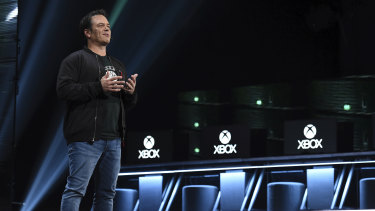 Phil Spencer, head of Xbox, speaks during Microsoft's pre-E3 briefing.