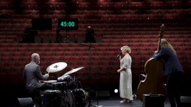 Emma Pask performed for at an empty Opera House for a live streamed event.