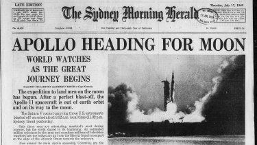 Apollo Heading for the Moon. The front page of the Herald, 17 July 1969.