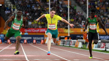 Rohan Browning in action during the 2018 Commonwealth Games.