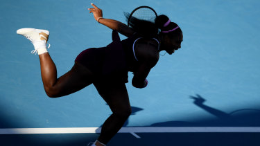 Serving it up: Serena Williams in action during the singles final in Auckland.