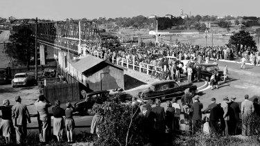The opening of the Iron Cove Bridge in Drummoyne