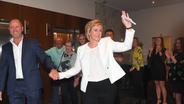 Steggall emerges after her victory.