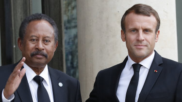 Sudanese Prime Minister Abdalla Hamdok with French President Emmanuel Macron in Paris last year.
