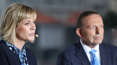 Warringah rivals Zali Steggall and Tony Abbott.