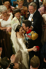 Princess Mary and Prince Frederik during the wedding waltz, Fredensborg Palace, May 14, 2004.