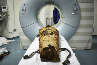 The mummy of Nesyamun, a priest who lived in Thebes about 3000 years ago, ready for CT scanning. Scientists used a 3D printer, a loudspeaker and computer software to recreate a part of his voice.