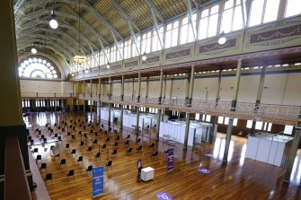 The mass vaccination centre at Melbourne's Royal Exhibition Building.